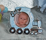 Pewter Blue Train Photo Frame
