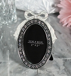 Pewter Oval Frame with Bow