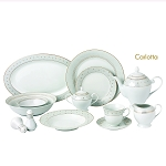 57 Piece Silver Border Porcelain Dinnerware Set-Service for 8-Carlotta-Mix and Match