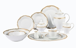 57 Piece Wavy Edge Gold Trim Dinnerware, Service for 8.  By Lorren Home Trends
