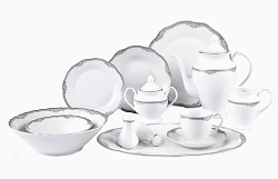 57 Piece Wavy Edge Silver Trim Dinnerware, Service for 8.  By Lorren Home Trends