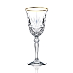 Siena Collection Set of 4 Crystal Cordial Liquor Glass with gold band design by Lorren Home Trends