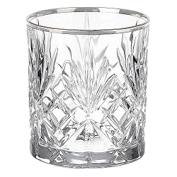 Reagan Collection Set of 4 Crystal Double Old Fashion beverage Glass with silver band design by Lorren Home Trends