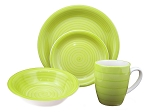 16 Piece Round Stoneware Dinnerware Set Green