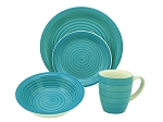 16 Piece Round Stoneware Dinnerware Set Blue