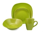 16 Piece Square Stonware Dinnerware Set Green