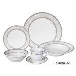 Porcelain  Dinnerware Set, 24 Piece Service for 4 by Lorren Home Trends: Sirena Design