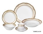 Porcelain Wavy Edge Dinnerware Set, 24 Piece Service for 4 by Lorren Home Trends: Isabella Design