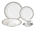 Porcelain  Dinnerware Set, 24 Piece Service for 4 by Lorren Home Trends: Greek Key