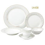 24 Piece Silver Border Porcelain Dinnerware Set-Service for 4-Carlotta-Mix and Match