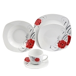 Porcelain 20 Piece Square Dinnerware Set Service for 4-Red Flower