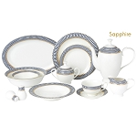 57 Piece Dinnerware Set-Bone China Service for 8 People-Sapphire