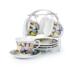 Set of 4 Coffee Cups On Metal Stand-Butterfly