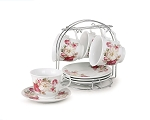 8oz. Set of 4 Coffee/Tea Cups On Metal Stand-Red and Ivory Flower