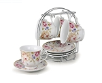 8oz. Set of 4 Coffee/Tea Cups On Metal Stand-Pink and White Flower