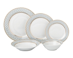 20 Piece Porcelain 5 piece place setting-Service for 4-Gold/Silver