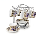 Set of 6 Espresso Cups On Metal Stand-Butterfly