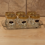 Tray Set with 6 Shot Glasses-Gold Band