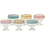 Pedastal Bowls Set of 6 Melania Collection Multicolor