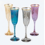 Set of 4 Multicolor Flute Goblets Grape Design