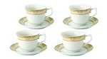 Lorren Home 7oz. Tea/Coffee Set Service for 6-Gold Floral