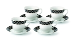 Lorren Home 7oz. Tea/Coffee Set Service for 6-Black/Gold