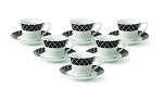 Lorren Home 2oz. Espresso Set Service for 6-Black/Gold
