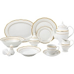 57 Piece Gold Wavy Dinnerware Set-Porcelain China Service for 8 People-Gloria