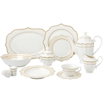 Lorren Home Trends 57 Piece Wavy Gold Mix and Match Bone China Service for 8