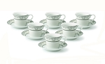 Lorren Home 2oz. Espresso Set Service for 6-Silver Floral