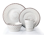Lorren Home Trends 16 Piece Distressed Weave Dinnerware Set-White