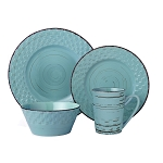 Lorren Home Trends 16 Piece Distressed Weave Dinnerware Set-Blue