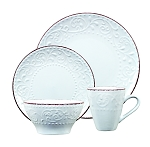 Lorren Home Trends 16 Piece Stoneware Scroll Dinnerware Set-White