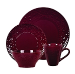 Lorren Home Trends 16 Piece Stoneware Scroll Dinnerware Set-Merlot