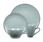 Lorren Home Trends 16 Piece Stoneware Scroll Dinnerware Set-Gray