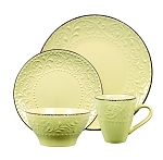 Lorren Home Trends 16 Piece Stoneware Scroll Dinnerware Set-Yellow