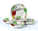 5 Piece Porcelain Pasta Set Vegetable Design