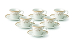Espresso Set-Service for Six Gold Floral Design