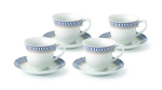 Lorren Home 7oz. Tea/Coffee Set Service for 6-Blue/Gold