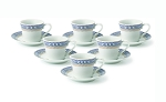 Lorren Home 2oz. Espresso Set Service for 6-Blue/Gold
