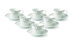 Espresso Set-Service for Six Silver Floral Design