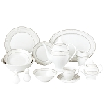 57 Piece Wavy Dinnerware Set-Porcelain China Service for 8 People-Atara