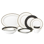 Lorren Home 50 Piece New Bone China Dinnerware Set Service for 8-Domino