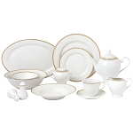 57 Piece Gold Border Porcelain Dinnerware Set-Service for 8-Georgette
