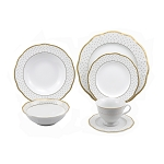 Lorren Home Trends 24 Piece Wavy Fine China Collection Gold Dot Dinnerware  (Service for 4)