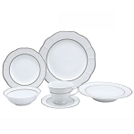 Lorren Home Trends 24 Piece Wavy Fine China Lattice/Silver Dinnerware  (Service for 4)