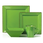 16 Piece Square Beaded Stoneware Dinnerware set by Lorren Home Trends, Green