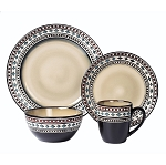 Lorren Home Trends 16 Piece Glazed Dinnerware Neutral (Service for 4)