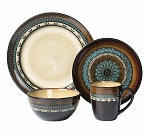 Lorren Home Trends 16 Piece Glazed Dinnerware Mosaic  (Service for 4)