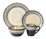 Lorren Home Trends 16 Piece Glazed Dinnerware Neutral and Blue  (Service for 4)
